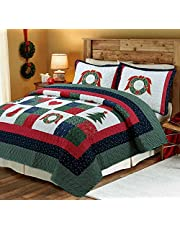 Cozy Line Home Fashions Christmas Night 3-Piece Bedding Quilt Set with 2 Standard Sham, Reversible Cotton Coverlet Bedspread, Machine Washable.