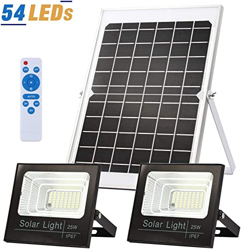 Solar Flood Lights Dusk to Dawn Solar Security Lights Outdoor IP67 Waterproof 800LM 5000K 16.4ft Cable Outdoor Solar Lights 2-in-1 with Remote Outdoor Security Lighting for Barn,Garden,Pool,Garage