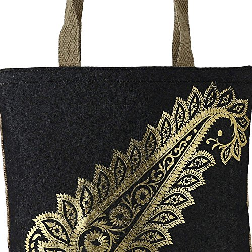 Shimmer fibra naturale iuta Tote Bag con oro Paisley grafica con trapuntato imbottito Fodera