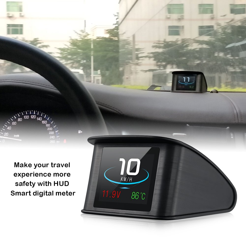 iKiKin Auto Head Up Display OBD2 HUD mit TFT LCD-Display zeigt Geschwindigkeit Drehzahl Spannung Erkennung fü r Fehlercode Muti-Funktion Auto HUD mit EUOBD OBD 2 Schnittstelle P10