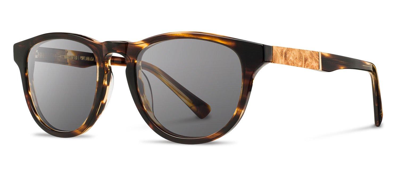 Shwood - Francis Acetate, Sustainability Meets Style, Tortoise/Maple Burl, Grey Lenses by Shwood