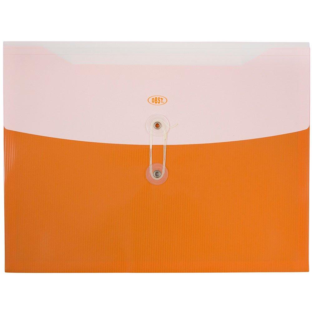 JAM PAPER Plastic Envelopes with Button & String Tie Closure - Letter Booklet - 9 3/4 x 13 - Orange - 12/Pack
