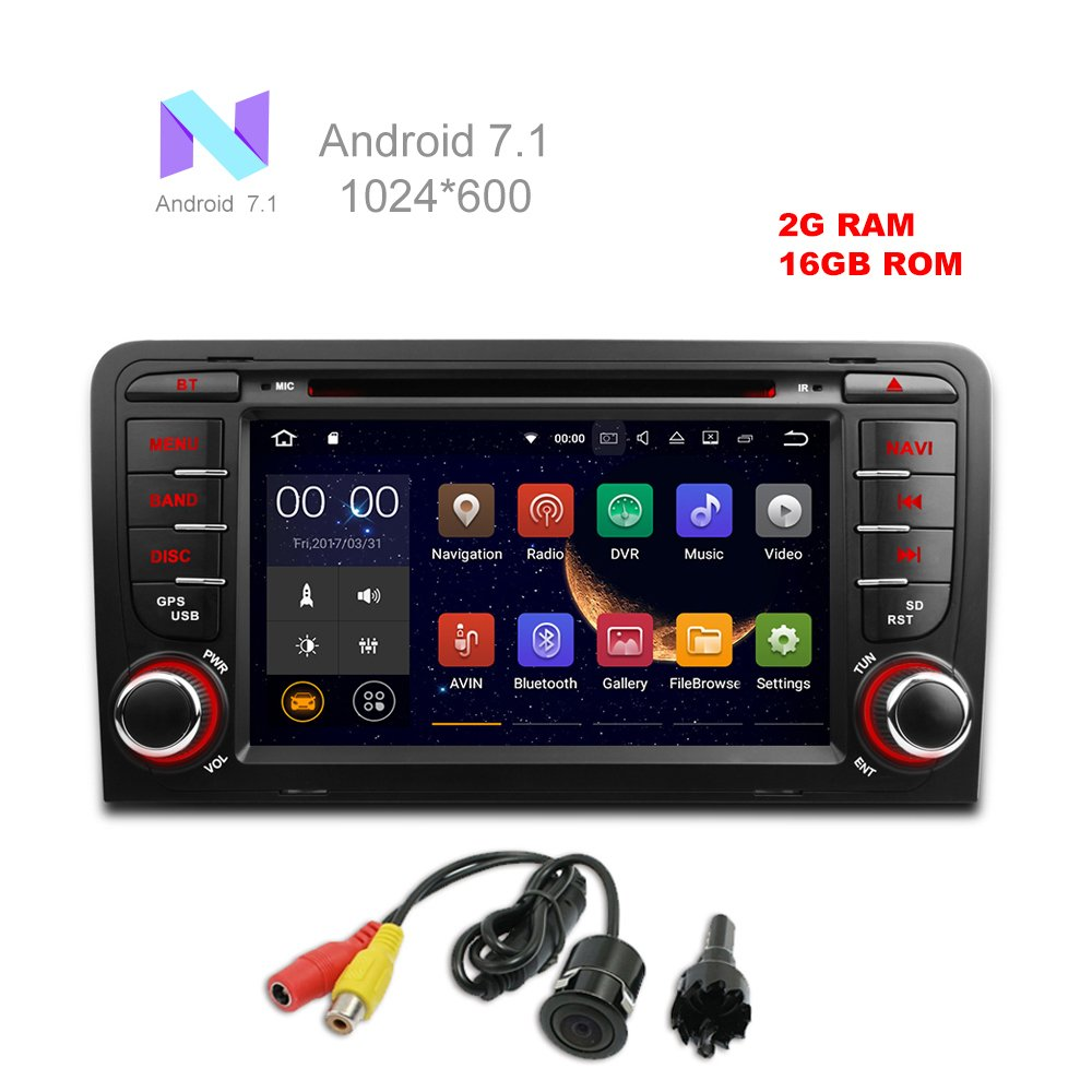 MCWAUTO For Audi A3 2003-2012 Audi S3 2003-2013 Android 7.1 Car DVD GPS Stereo Radio 2 din 7'' Quad-core 1024600 with USB/SD/Steering Wheel/Bluetooth/Wifi/3G/AV-IN/16Gb Memory/Rear Camera by MCWAUTO