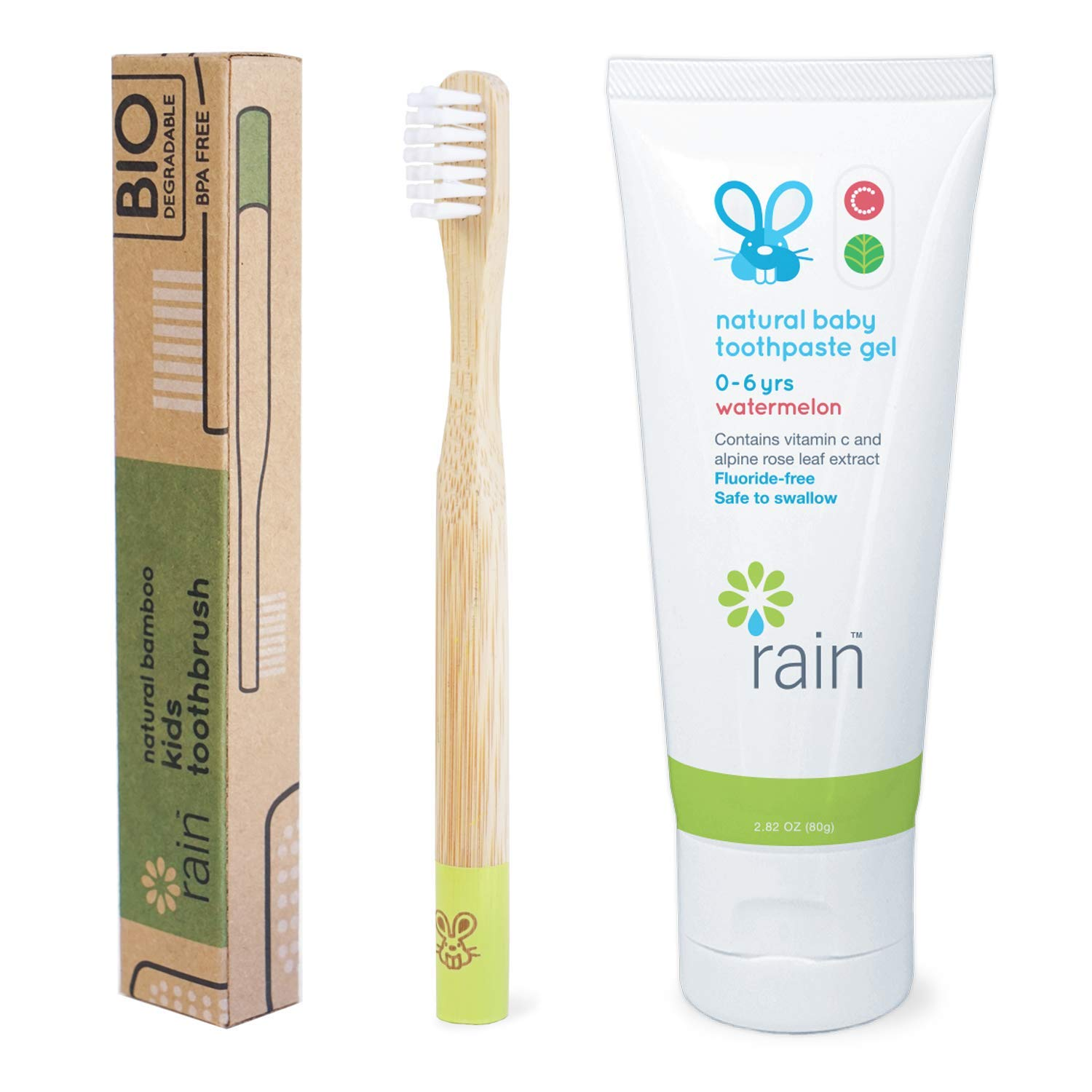 1 Toothbrush 1 Toothpaste Natural Bamboo Baby Toothbrush Set Fluoride-Free Toothpaste Safe to Swallow Vitamin C Enriched for 6 to 12 Months and Up Infant Toddler Toothbrush BPA-Free Biodegradable