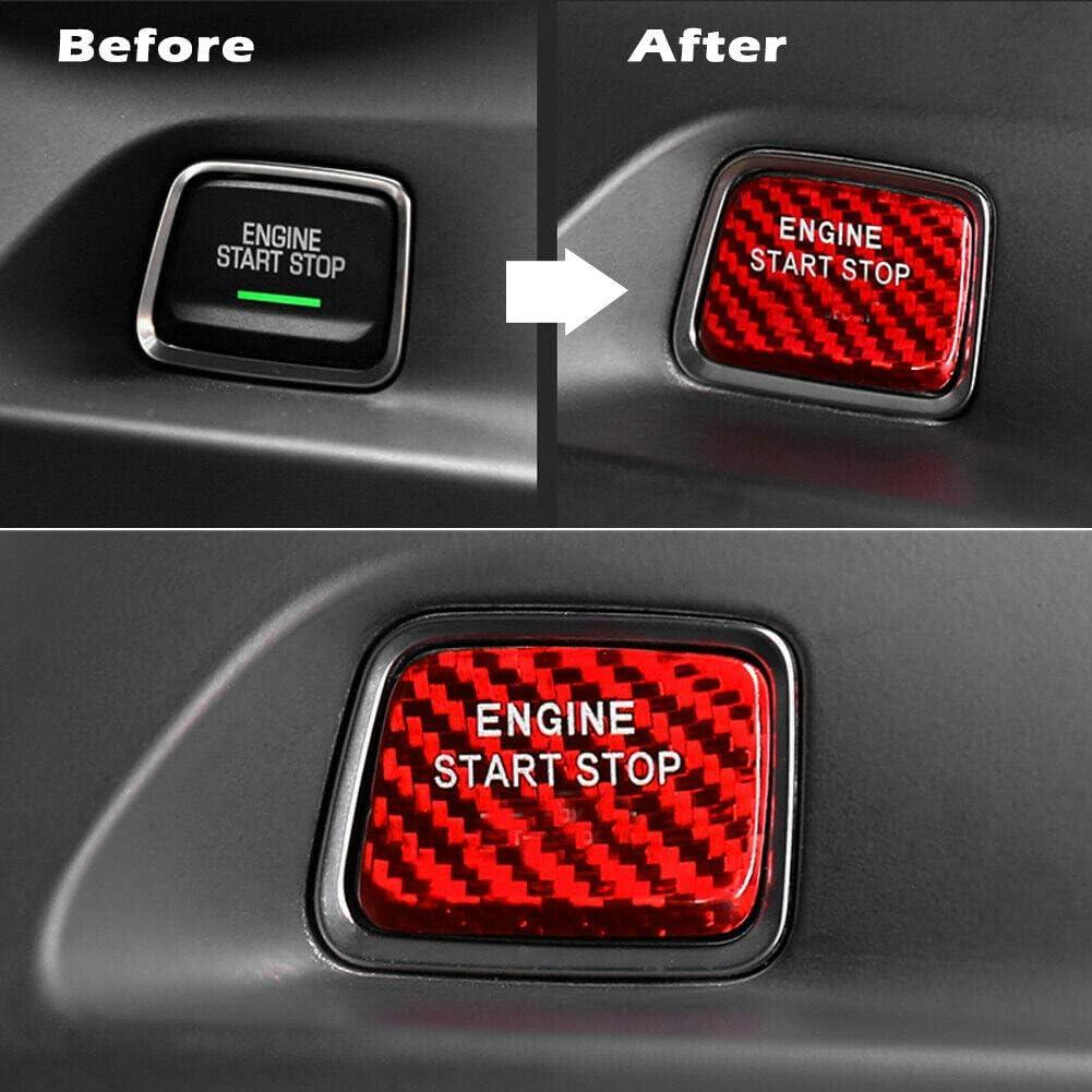 znwiem Auto Motor Start Stop Taste Abdeckung Zierleiste f/ür Corvette C7 Carbon Keyless Go Z/ündung Aufkleber Dekor