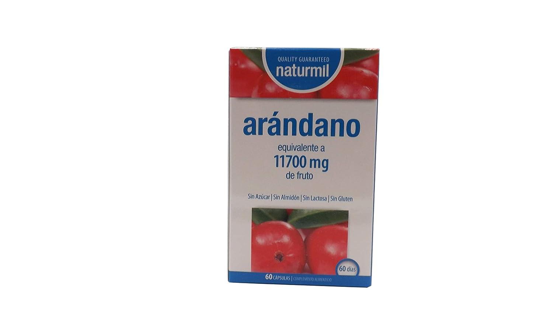 Naturmil Arándano rojo 60 capsulas 11.700 mg + Vitamina C por capsula ALTA CONCENTRACIÓN, previene y alivia las infecciones urinarias, fuente de vitamina C, ...