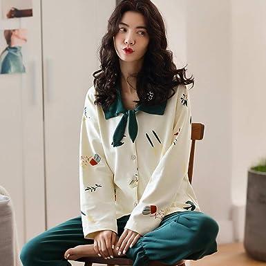 Pijama Mujer Primavera y otoño algodón de Manga Larga Dulce Lindo ...