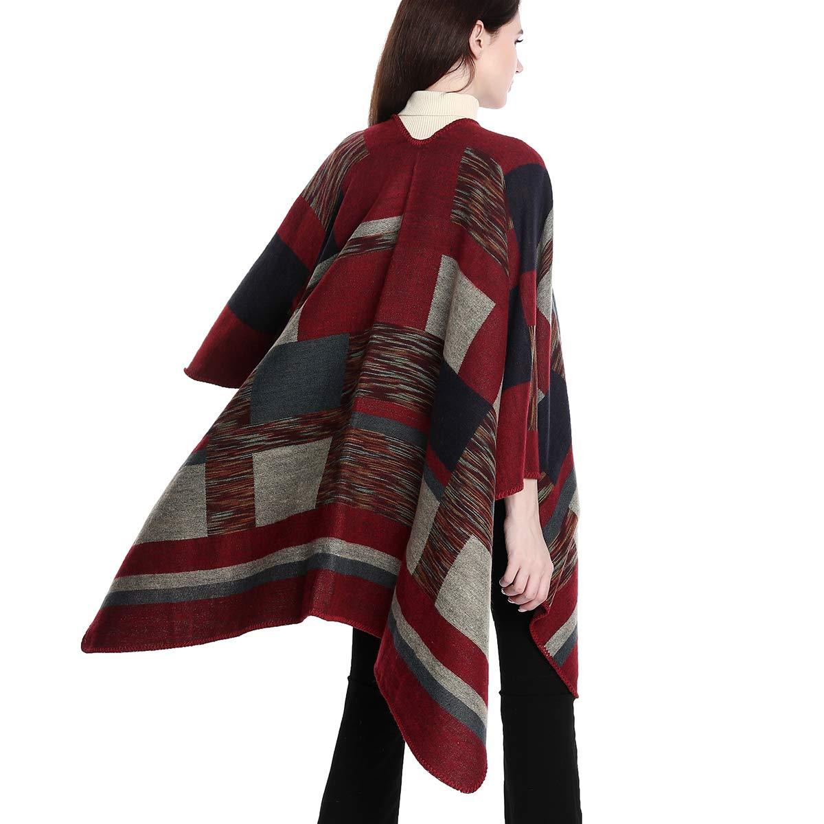 34 + Colores Disponibles DoFiyeng Poncho Chal para Mujer con Capa Frontal Abierta y Elegante