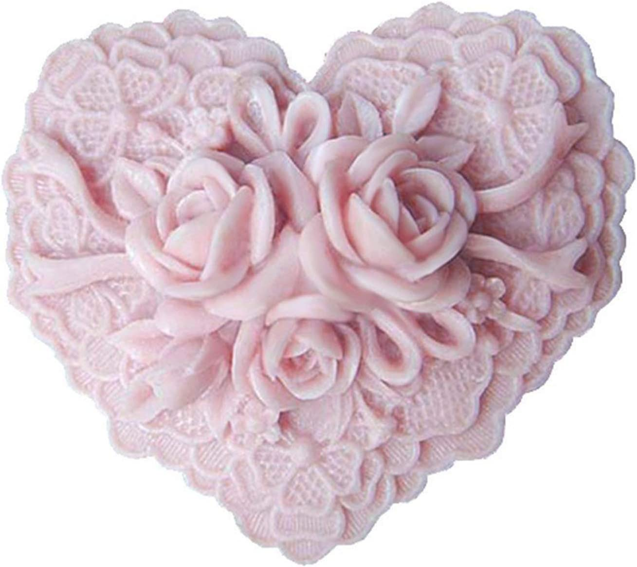 Rose Flower Silicone Soap Bar Molds Heart Shaped DIY Craft Handmade Soap Mold