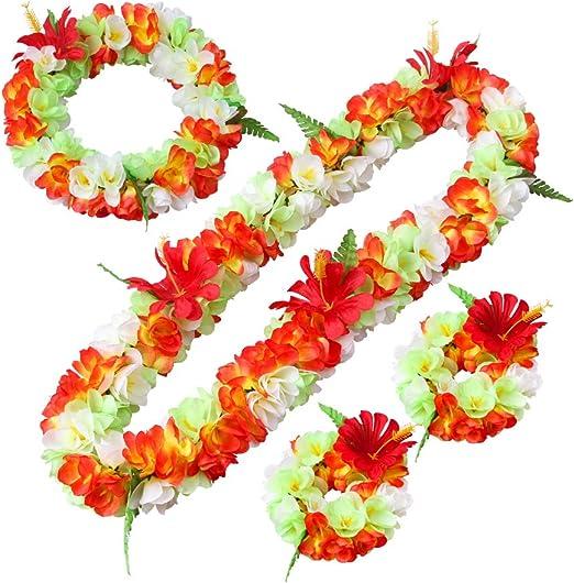 Hawaiian Lei Party Luau Floral Plumeria Flower Dance Hawaii Solid Red Green Leaf