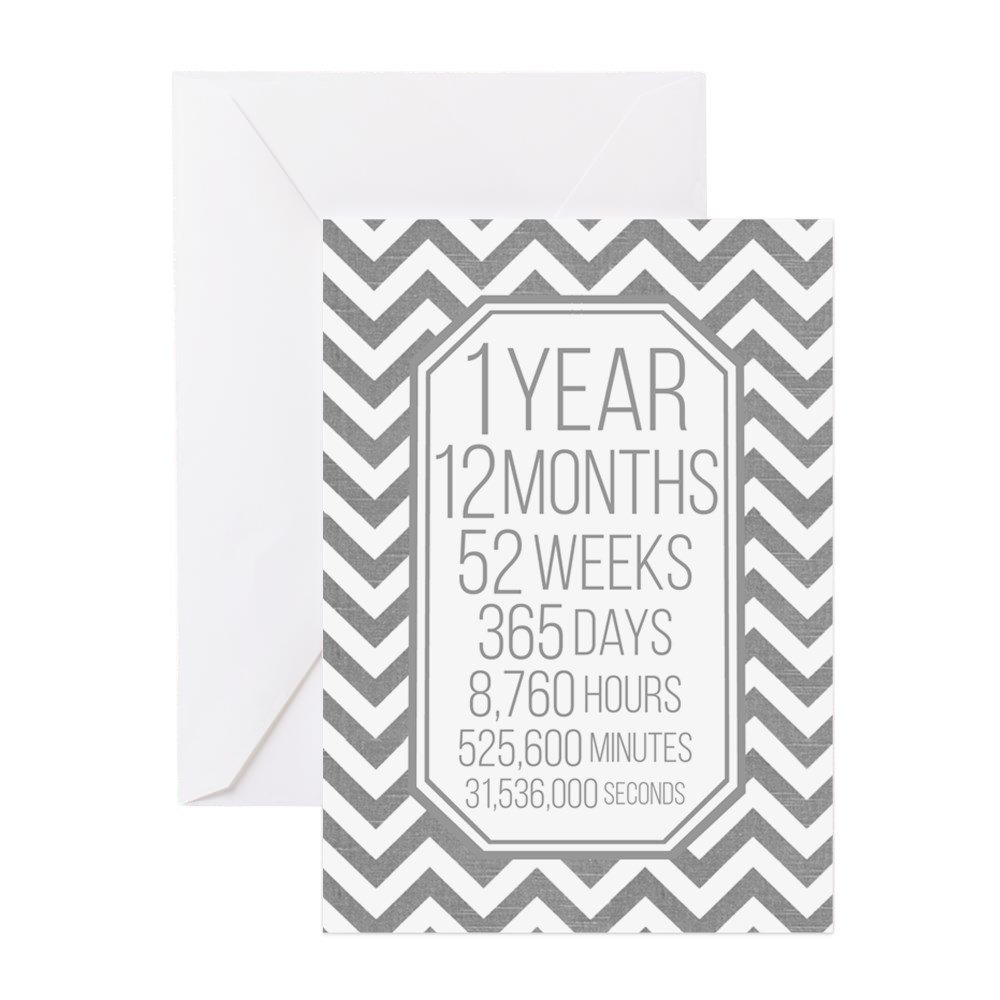 CafePress - 1 Year (Gray Chevron) Greeting Cards - Greeting Card, Note Card with Blank Inside Matte