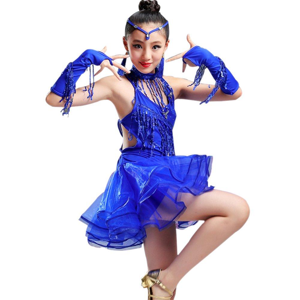 Amazon.com: KINDOYO Niña Vestido Danza Latina Traje Lentejuela Tango Salsa de Práctica de Baile Latino Concurso de Disfraces: Clothing