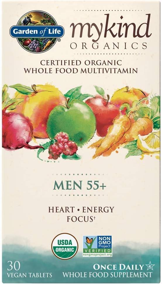 Garden of Life Multivitamin for Men - mykind Organic Men's 55+ Whole Food Vitamin Supplement, Vegan, 30 Tablets