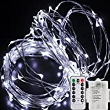 LED String Lights Fairy Lights Battery Powered with Remote Control Triple silver wire,16.5 Ft 50 LED Indoor and Outdoor Decoration for Christmas Halloween Bedroom Wedding Party Patio Lawn(cool white)