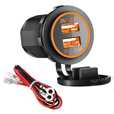Dual USB Charger Socket Power Outlet - 2.1A & 2.1A for Car Boat Marine Mobile with Wire Fuse DIY Kit (4.2A-Orange)