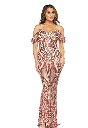 2b071a743a Off Shoulder Sequin Beaded Maxi Dress at Amazon Women's Clothing store: