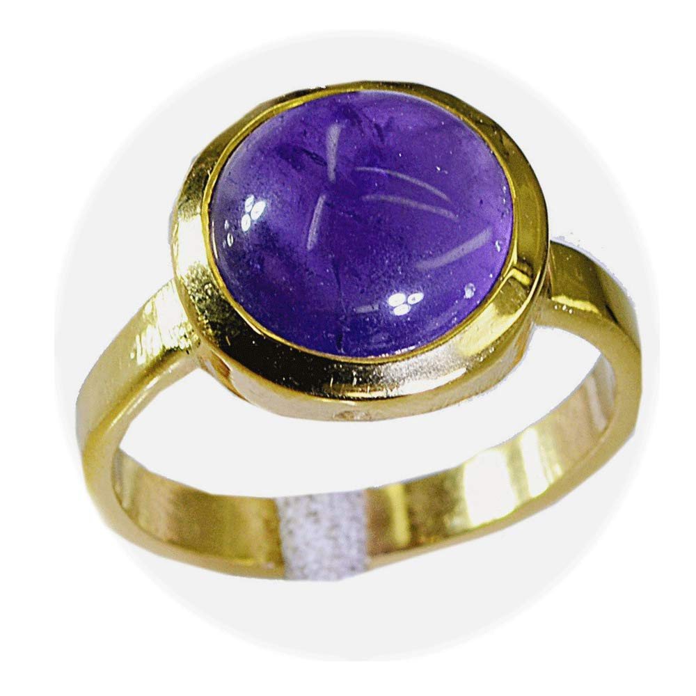 55Carat Real Amethyst Gold Plated Ring for Women Oval Astrological February Birthstone Size 5,6,7,8,9,10,11,12