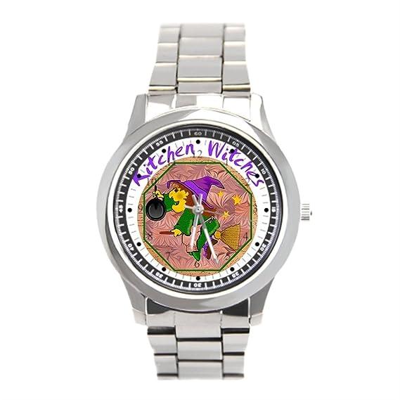 Reloj de pulsera reloj de acero inoxidable cocina bruja buena suerte Hombres