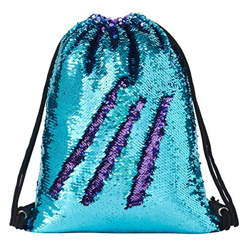 Segorts Sequin Drawstring Backpack Gym Dance Bags Mermaid Magic Reversible Glitter Bag Unicorn Gift for Girls Daughter Boy Flip Sequin School Bag Birthday Gift for Kids Women, One_Size