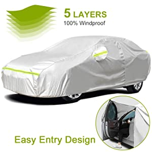 Favoto Full Car Cover Sedan Cover Universal Fit 177-194 Inch 5 Layer Heavy Duty Sun Protection Waterproof Dustproof Snowproof Windproof Scratch Resistant with Storage Bag Sedan Cover
