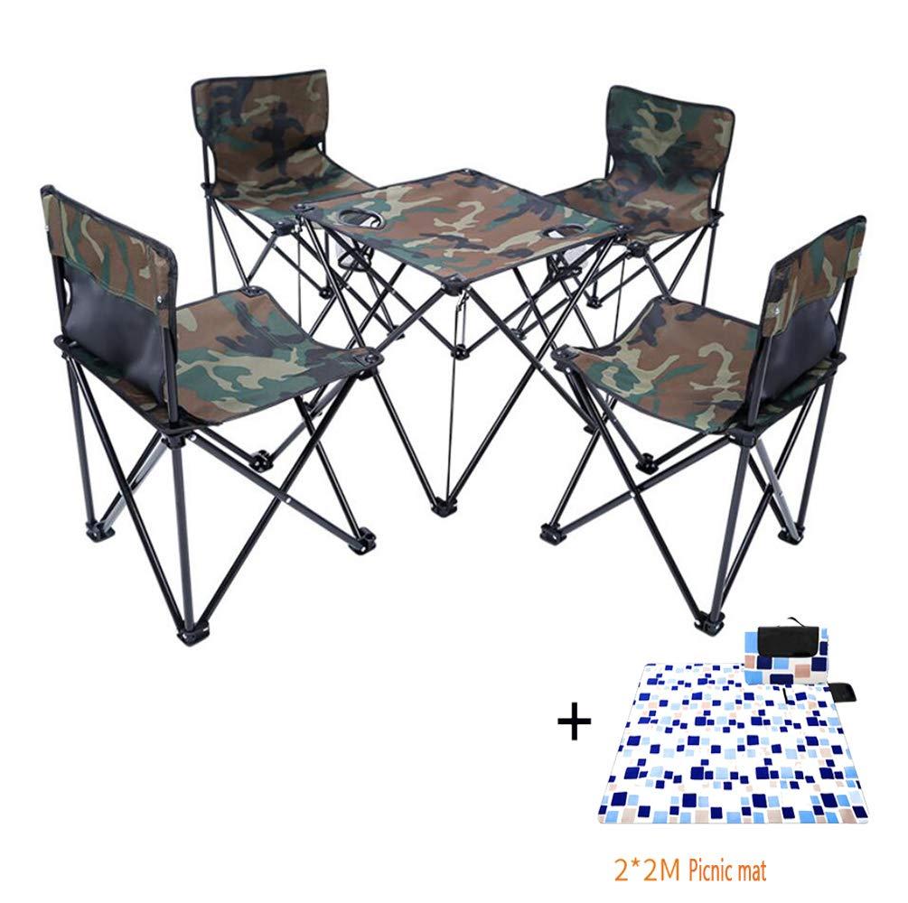 ZIHENGUO Juego de 5 sillas y mesas Plegables ultraligeras ...