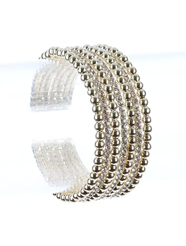 amazon com destinee s gold hollow metallic bead rhinestone cuff