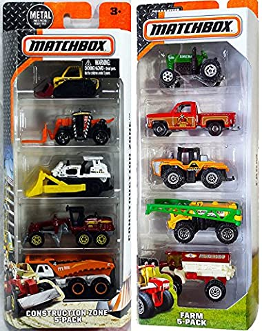Matchbox Farm Equipment Vehicle 5-Pack & Construction Trucks 10 Car set (Bell Tanker)