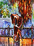 KISS AFTER THE RAIN is the ONE-OF-A-KIND, ORIGINAL hand painted oil painting on Canvas by Leonid AFREMOV Picture