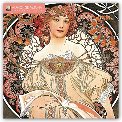 Alphonse Mucha 2019 12 x 12 Inch Monthly Square Wall Calendar with Glitter Flocked Cover by Flame Tree, Czech Art Nouveau Artist Painter Illustrator Designer