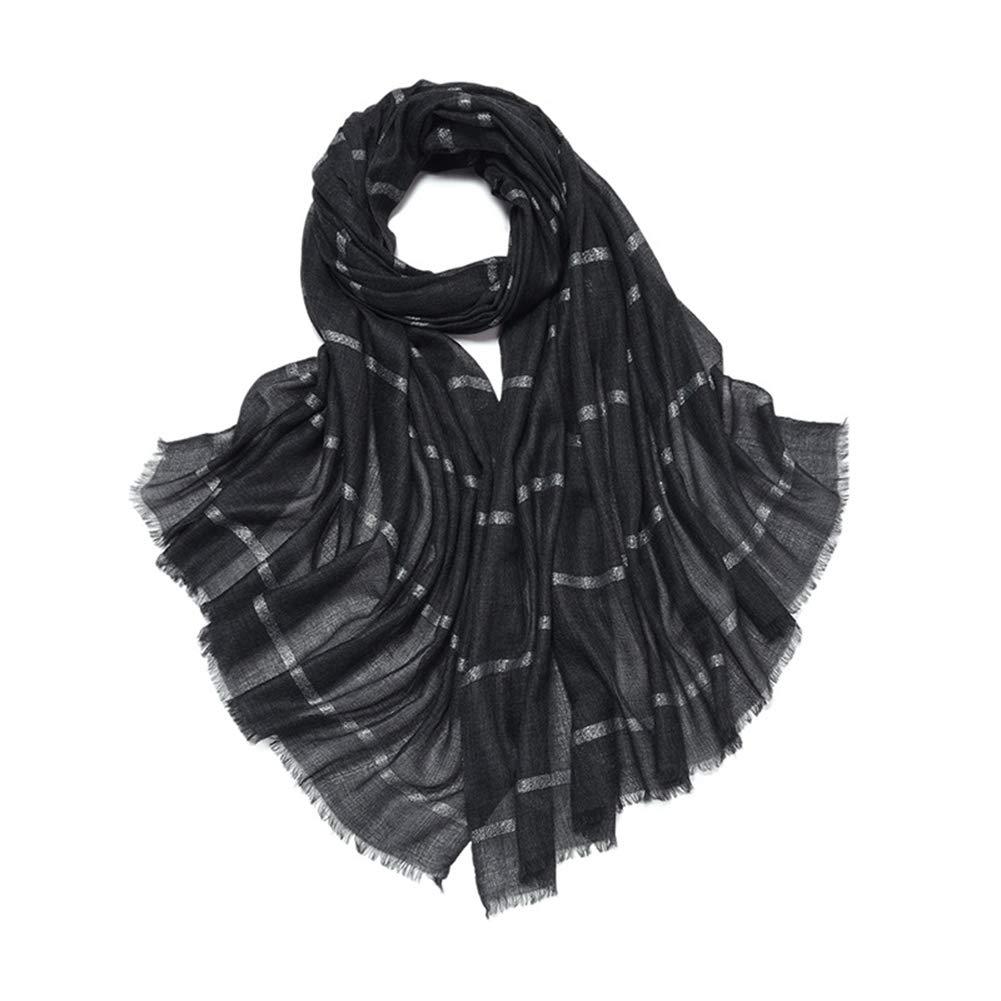 Women's Pure Wool Scarf, Silver Line Thin Section Scarves, Fall Winter Monochrome Jacquard Tassel Warm Shawl, 100x200cm