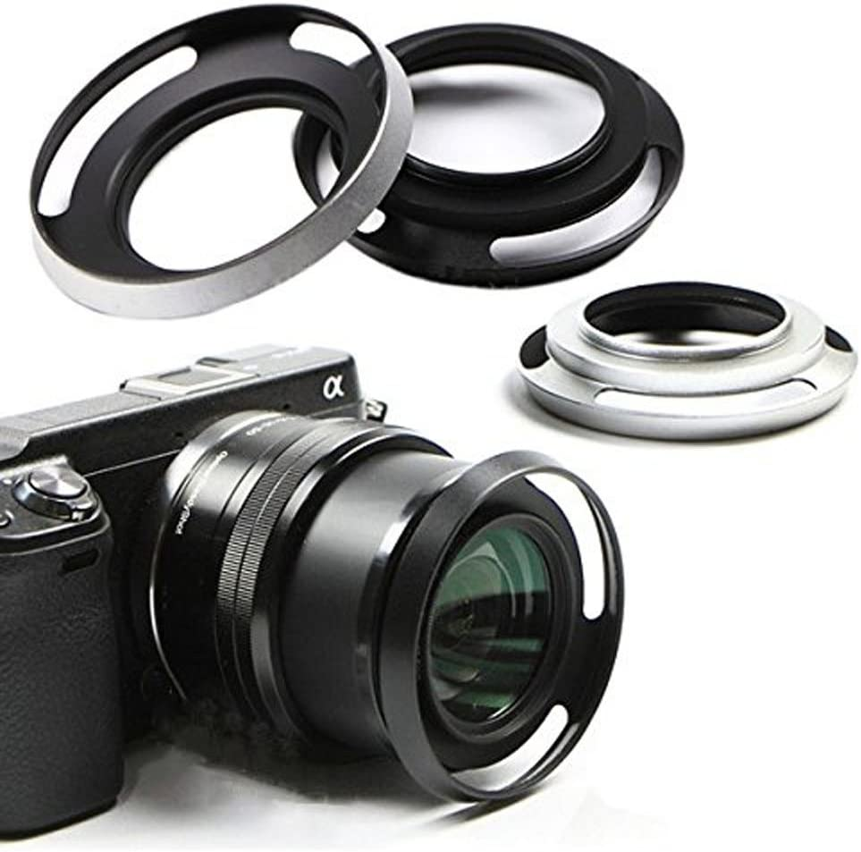 Dengpin Silver 40.5mm Metal Lens Hood Screw-in Mount for Sony A5100 A6000 A5000 NEX-5RL NEX-5TL NEX-3NL NEX-6 E16-50mm Lens Silver
