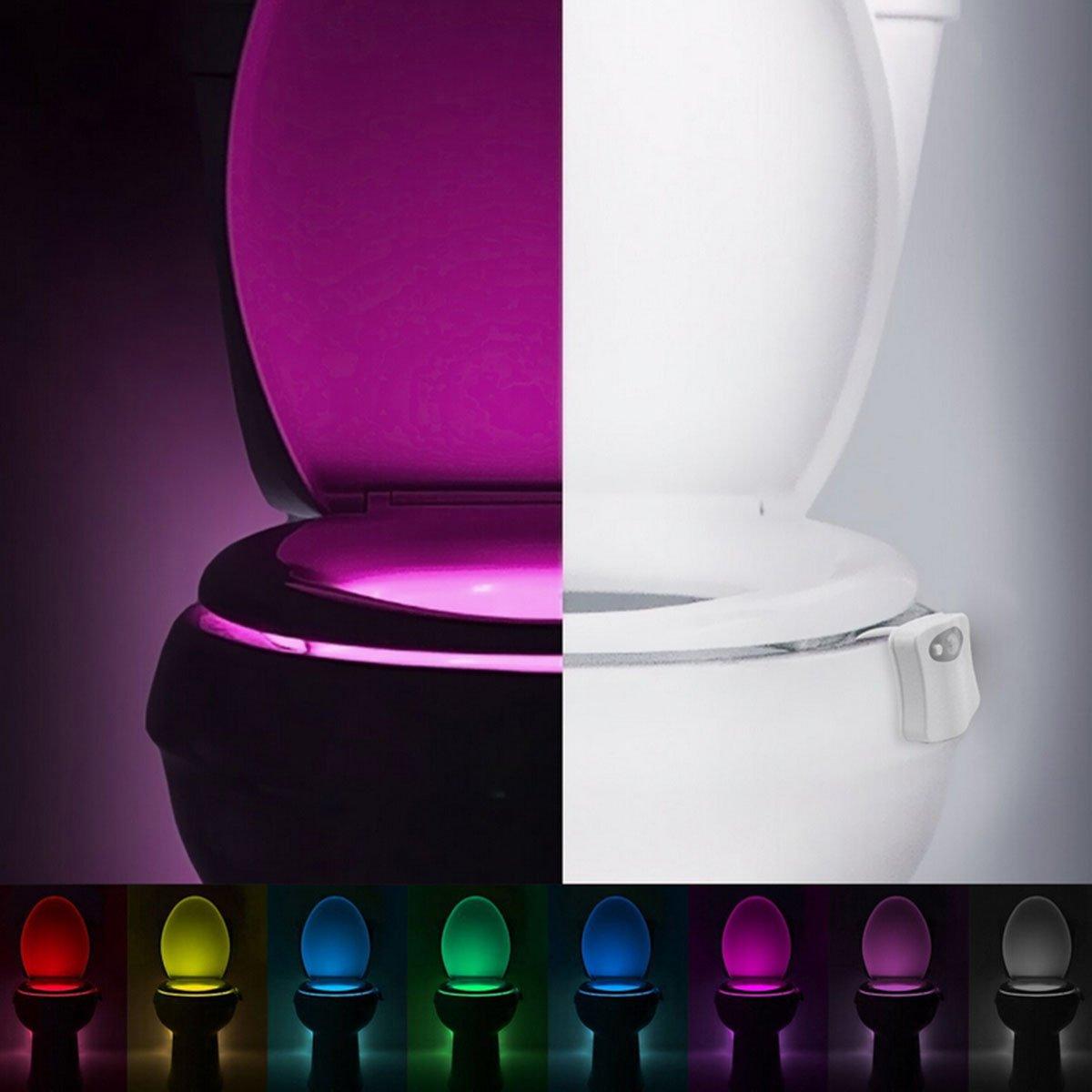 Butterme Toilet Night Light, capteur de mouvement activé LED éclairage de toilette, LED Toilette Bowl Light, Home Bathroom Toilette assis Lumière Night Lamp 8-Color Changes ZUMUii ZUMU00004574