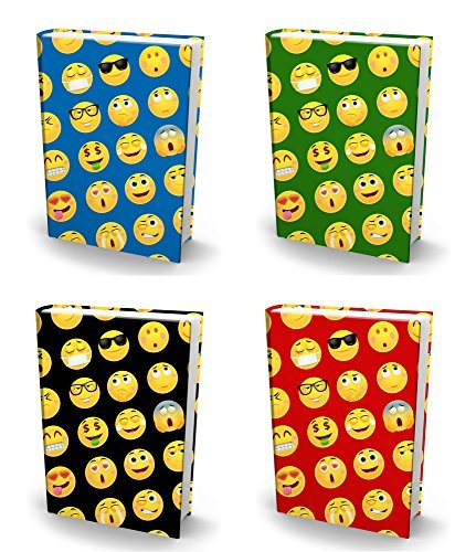 Book Back Covers - BOOK SOX Stretchable Book Cover: JUMBO EMOJI Value Pack of 4 Jackets Fit Most Hardcover Textbooks up to 9