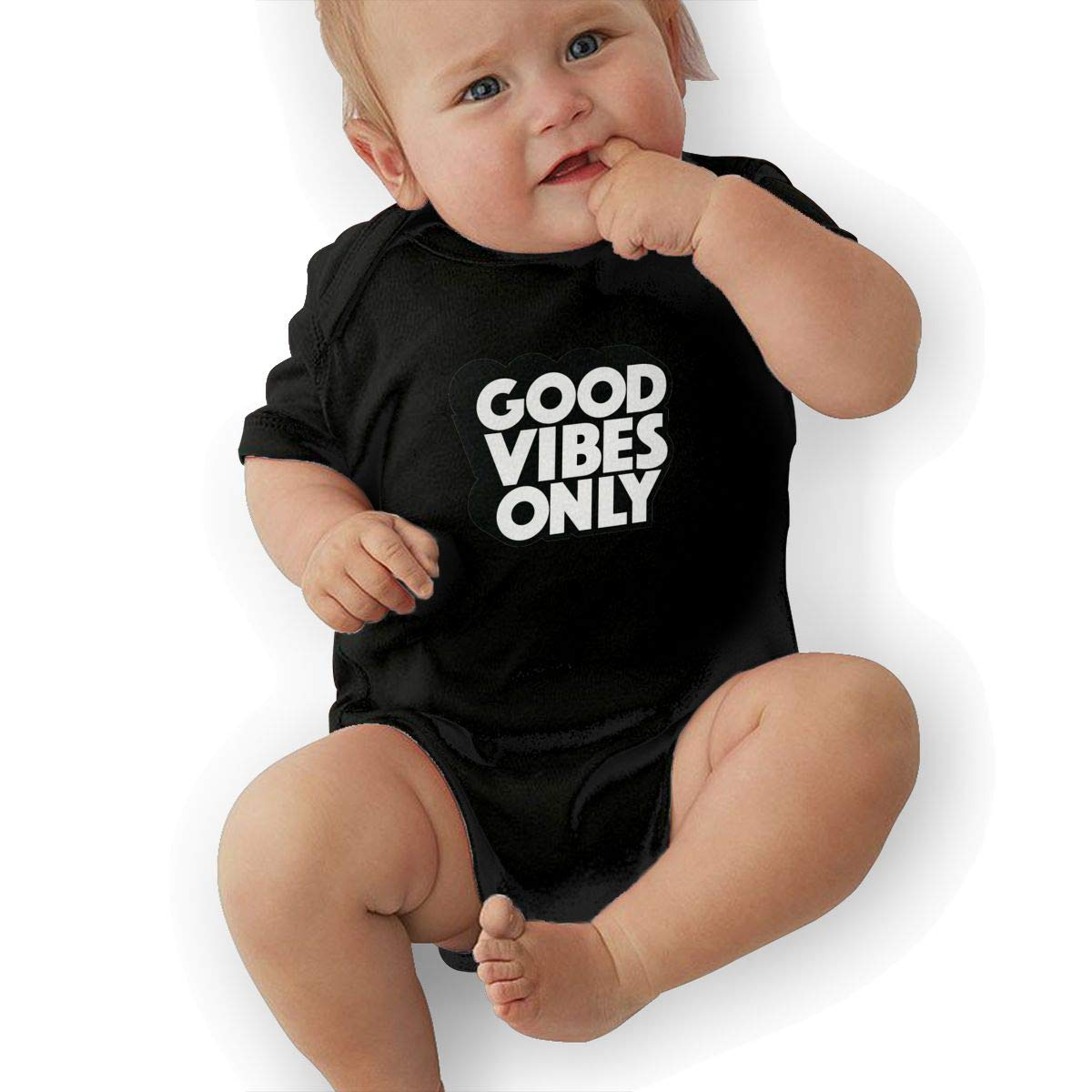 Bodysuits Clothes Onesies Jumpsuits Outfits Black Good Vibes Only Logo Baby Pajamas