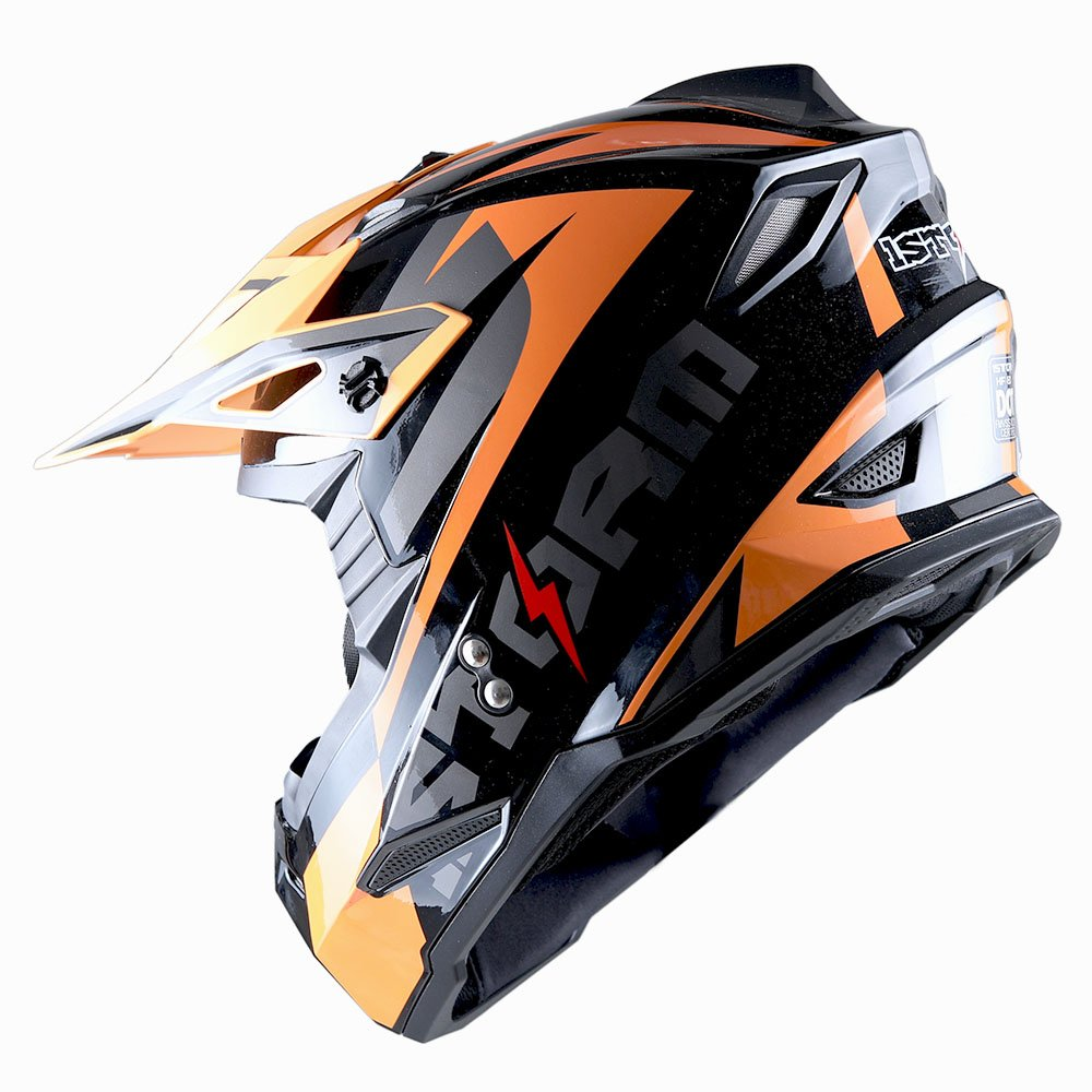 1Storm Adult Motocross Helmet BMX MX ATV Dirt Bike Helmet Racing Style Glossy Orange; + Goggles + Skeleton Orange Glove Bundle by 1Storm (Image #5)