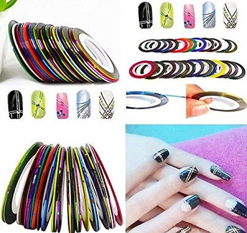 30pcs Colors Rolls Striping Nail Art Tape Random Mixed Decoration Stickers Line Tips