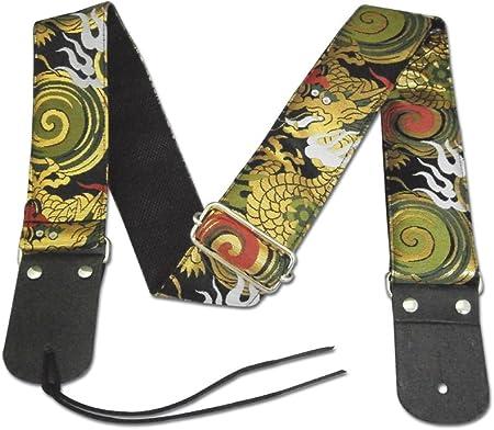TP-STRAPS 和柄ストラップ・火炎龍/黒 L (95cm~157cm) tiny products ギターストラップ 京都 金襴生地使用 made in Japan