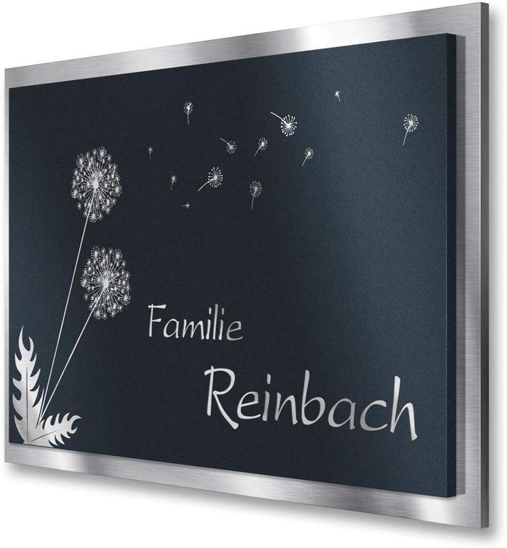 Namensschild aus V2A Edelstahl in Anthrazit RAL 7016 selbstklebend /& wasserfest