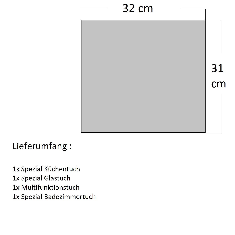 MACOSA SP1124-4 Microfibra Juego de 4 pa/ños de Limpieza para lavavajillas y Pulido Color Beige y Rosa