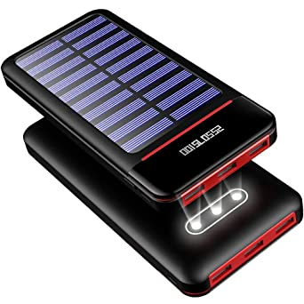 Solar Charger Power Bank 25000m Ah Portable Charger Battery Pack With Three Outputs&Dual Inputs Huge Capacity Backup Battery Compatible Smartphone,Tablet And More by Rleron