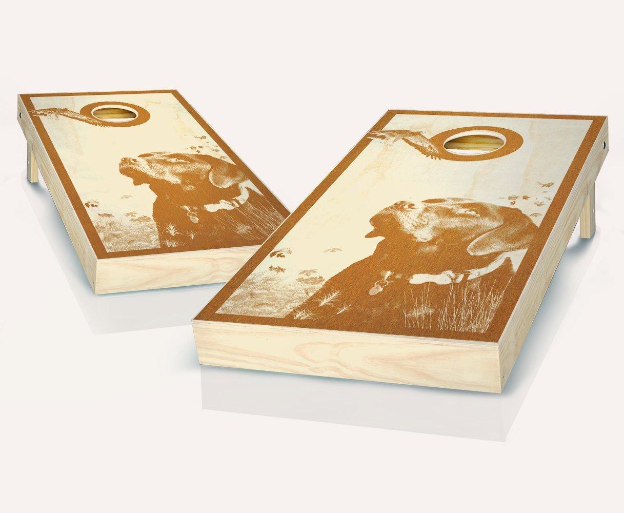 狩猟犬Maple Stained Cornhole Boards withのセット8 Cornhole Bags B07BHQ491J