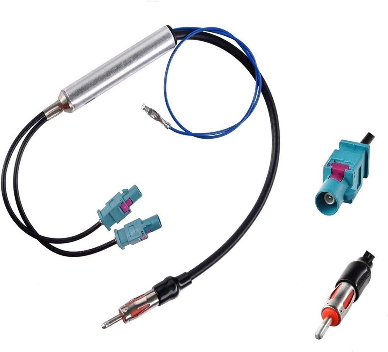 compatible con radio pioneer Clarion Alpine JVC VW Audi able adaptador de antena para coche con conector DIN de doble conector Fakra Z con amplificador y cable adaptador de antena para radio de coche