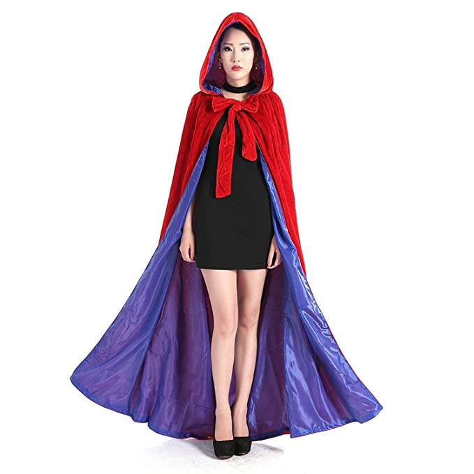 Amazon.com  Hooded Cloak Red and Blue Halloween Wizard Robe for Christmas  Fancy Coat  Clothing 10d7bb969