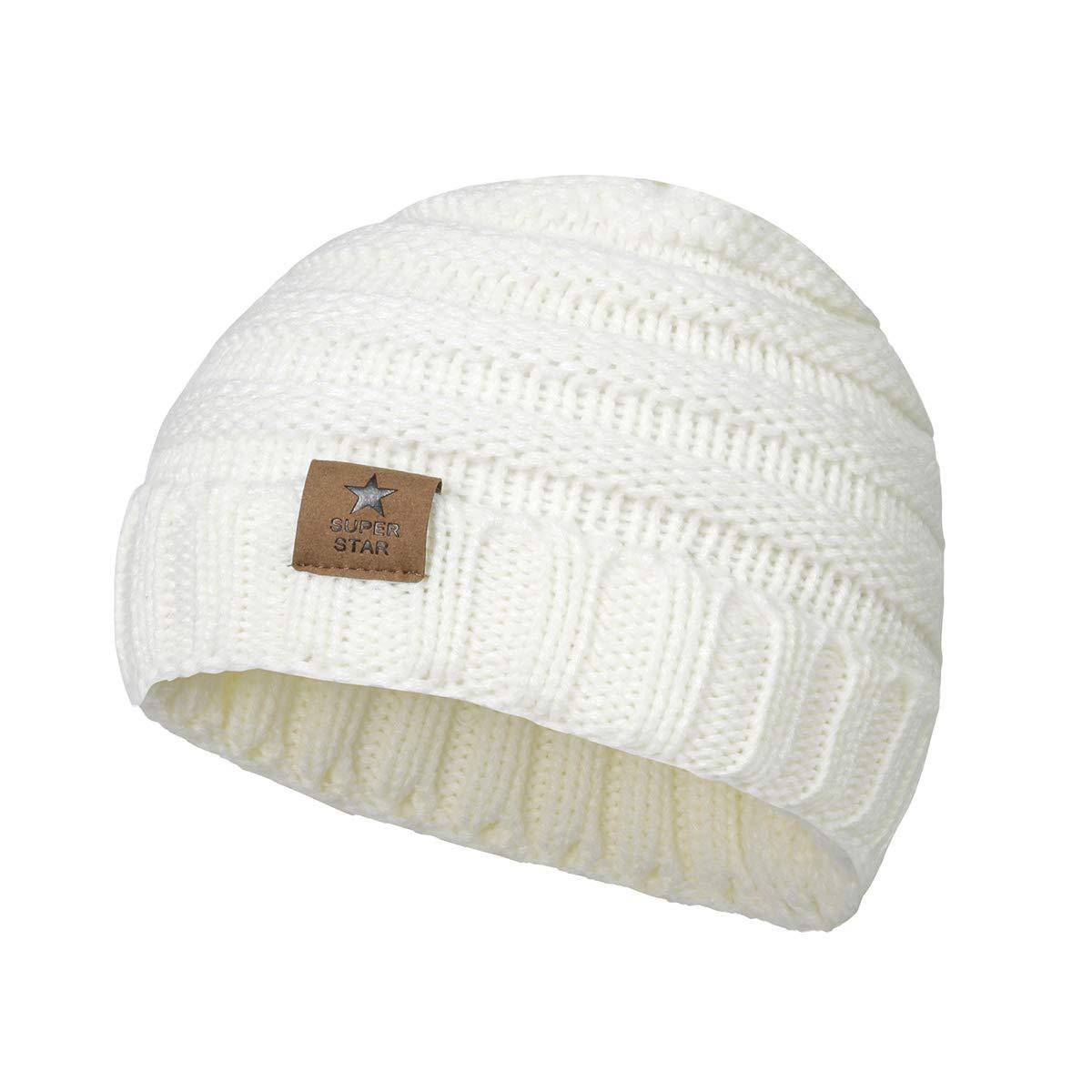 0e5abe2875c Zando Baby Winter Hats Kids Cable Knit Caps Cozy Warm Cute Infant ...