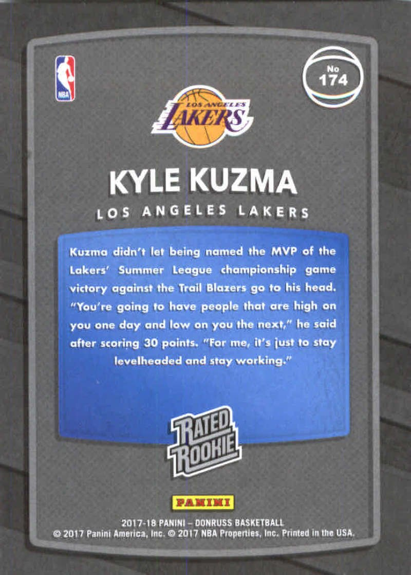 2017-18 Donruss #174 Kyle Kuzma RC Rookie Lakers Rated Rookie