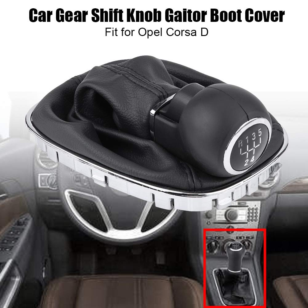 Minyinla Gear Shift Knob Gaiter Car Gear Shift Knob Lever Stick Gaitor Boot Cover Replacement for Opel Corsa D Part Number:009140093 19276456