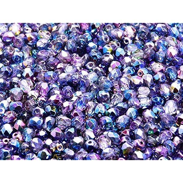20pcs 8mm Iris Blue Faceted Beads Czech Fire Polished Beads Facet Glass Rainbow Metallic Blue Polished Beads