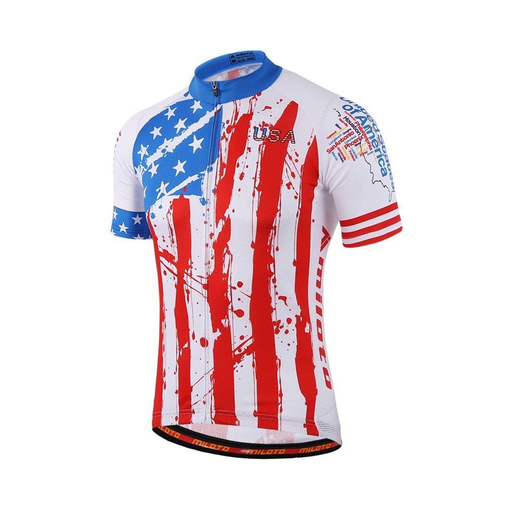 calmmoodメンズサイクリングジャージフルZip Bikingシャツショートバイク服自転車ジャケットポケット付き B078BGQGJZ XXX-Large|USA Style USA Style XXX-Large
