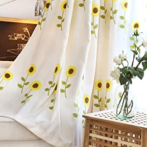 TriGold Linen Cotton Window Treatments Curtains Hook,Embroidered Blackout Curtains Single Panel,American Rustic Curtains Bedroom Hook 200x260cm(79x102inch)