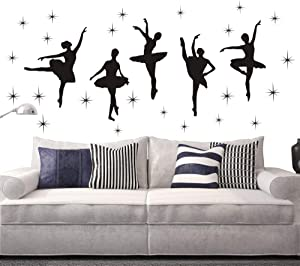 Bedroom Decor Ballet Dance Ballerinas Stars Vinyl Wall Decals Art Stickers Dancing Ballet Nursery Kids Girls Room Decor Girls Room Wall Sticker KW-109 (Black 17x40 inch)